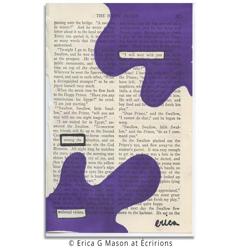 violets, book page art, found poetry, blackout poetry, blackout poems