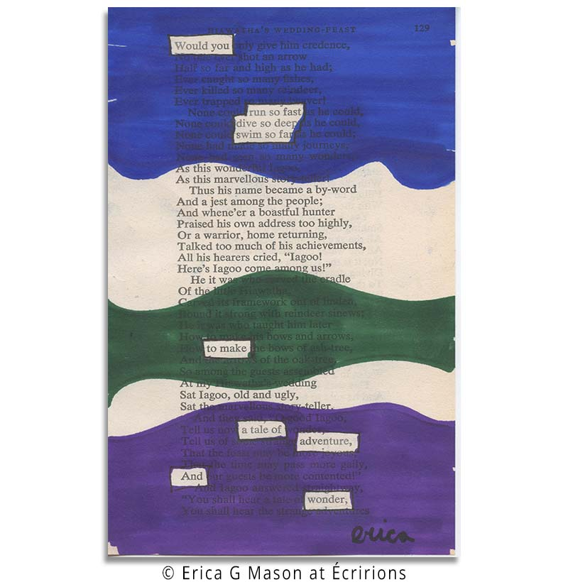 book page art, blackout poetry, poem , found poem, erica gerald mason