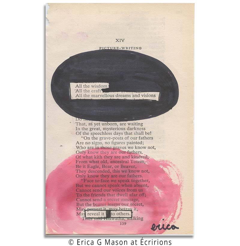 all of it, book page art, pink poetry, blackout poetry, found poems